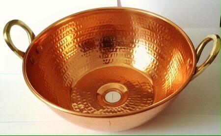 cuba de cobre 15 litros + torneira em cobre e válvula