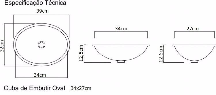 Cuba De Embutir Oval Pequena Louça Branca 34x27x12,5cm  R$ 54,90 em Mercado  -> Cuba Para Banheiro Oval De Embutir