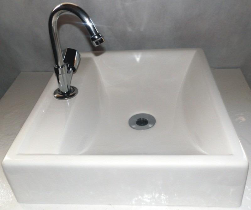 Cuba De Sobrepor Para Banheiro Quadrada  Branca  R$ 129,99 em Mercado Livre -> Cuba Banheiro Amoedo