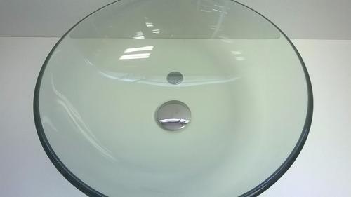 cuba de vidro banheiro redonda incolor 42cm + válvula click