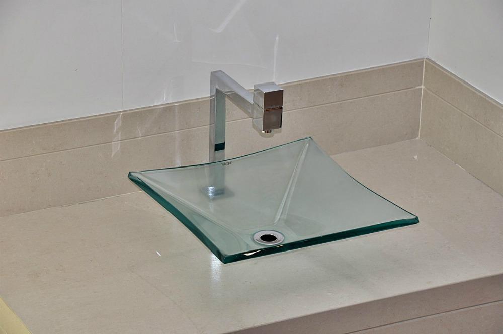 Cuba De Vidro Bergan Quadrada Incolor  Linha Sulle  R$ 154,90 em Mercado Livre -> Cuba Para Pia De Banheiro De Vidro
