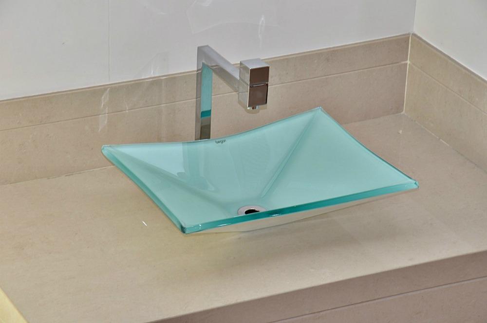 Cuba De Vidro Bergan Retangular Branca  Linha Sulle  R$ 159,90 em Mercado L -> Cuba De Vidro Para Banheiro Em Promocao