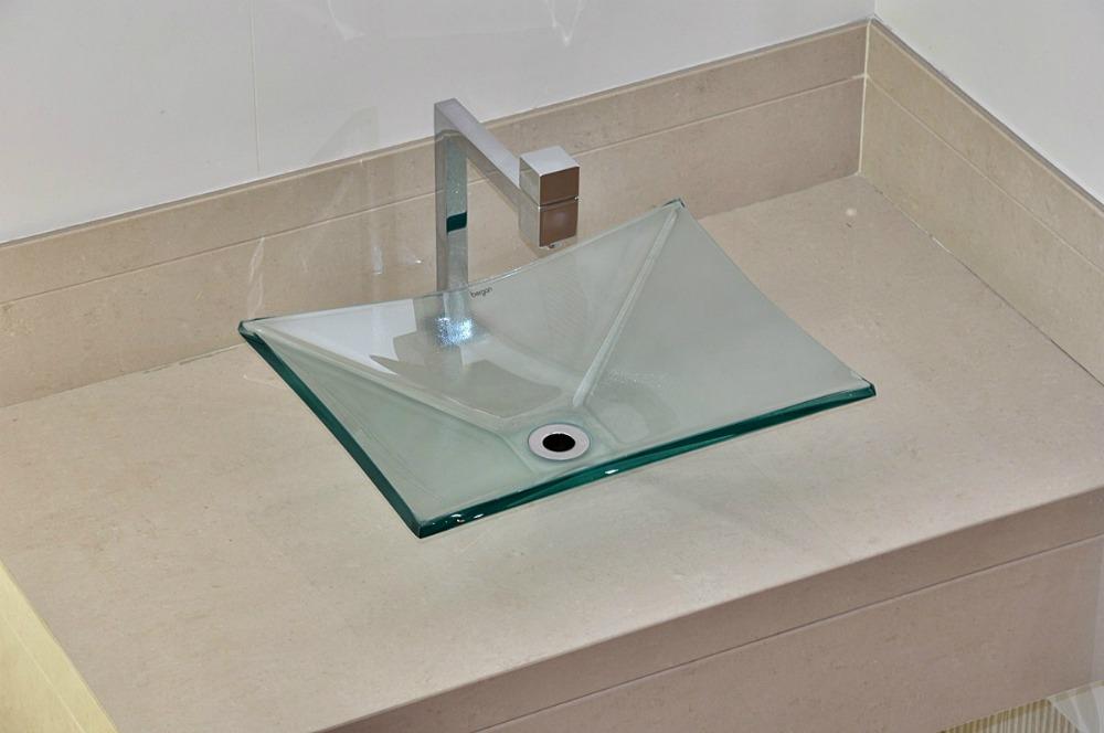 Cuba De Vidro Bergan Retangular Incolor  Linha Sulle  R$ 159,90 em Mercado  -> Cuba De Vidro Para Banheiro Em Promocao
