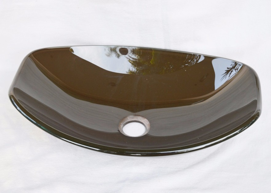 Cuba De Vidro Marrom Pbanheiro  Chanfrada Small  45,5cm  R$ 249,00 em Mer -> Cuba Banheiro Marrom