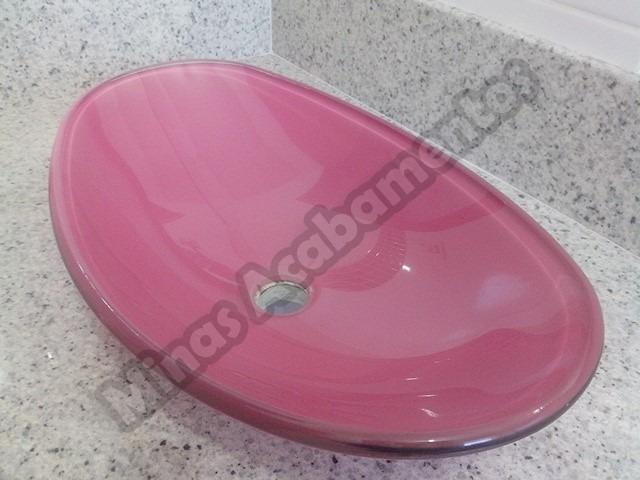 Cuba De Vidro Oval Rosa  55x35x15  R$ 249,90 em Mercado Livre -> Cuba Banheiro Rosa