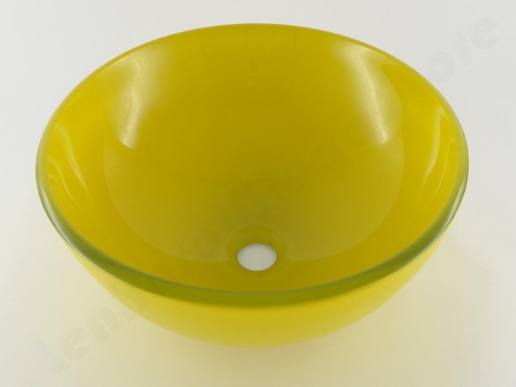 Cuba De Vidro Redonda Lavabo E Banheiro Amarelo  R$ 220,26 em Mercado Livre -> Cuba De Banheiro Amarelo