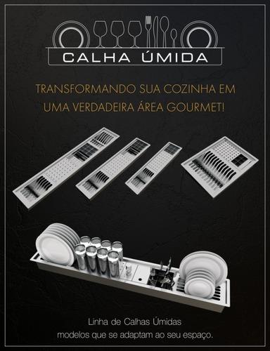cuba dupla inox quadrada gourmet com válvula 800 x 400