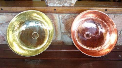 cuba em cobre e torneira de cobre