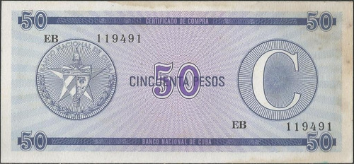 cuba foreing exchange certificate 50 pesos nd serie c pfx24