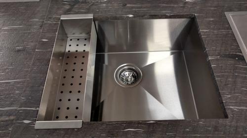cuba inox quadrada 400 x 400 com escorredor e válvula