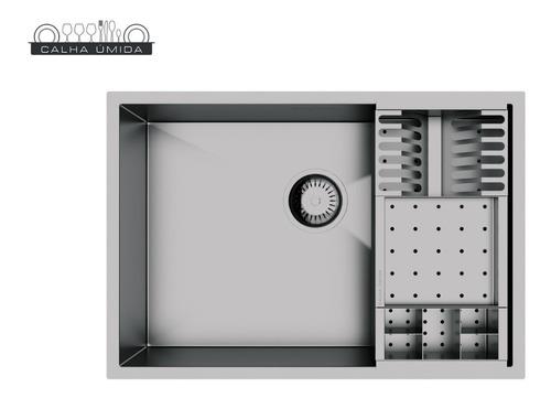 cuba inox quadrada 500 x 400 com cesto escorredor e válvula