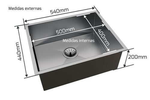 cuba inox quadrada 500 x 400 handmad c/ escorredor inox 304