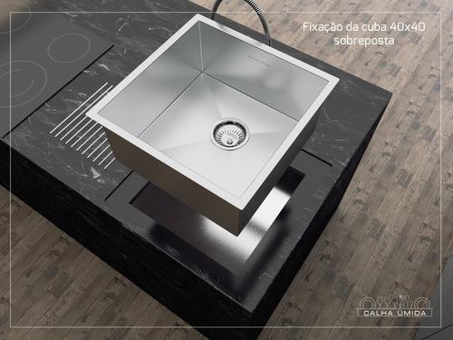 cuba inox quadrada gourmet com válvula 350 x 350