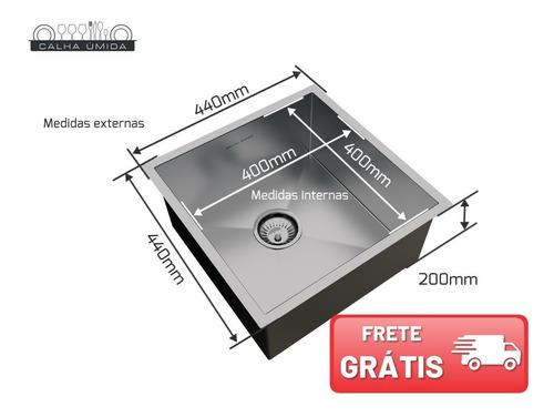 cuba inox quadrada gourmet com válvula 400 x 400