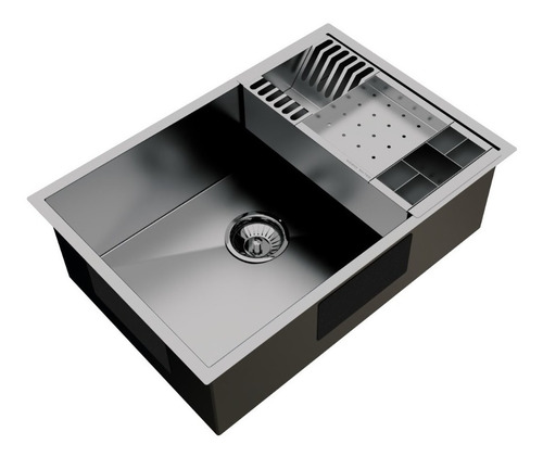 cuba inox quadrada gourmet com válvula 500 x 400