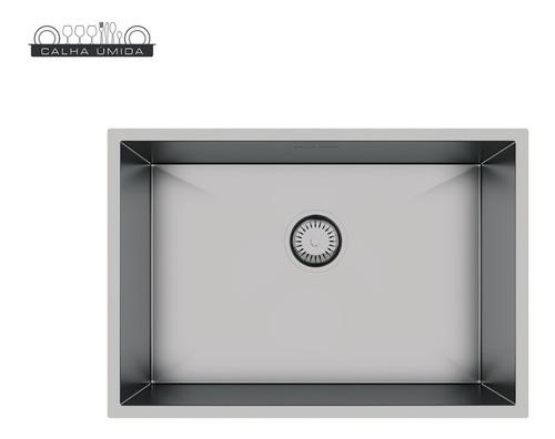 cuba inox quadrada gourmet com válvula 60 x 40 cm