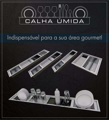 cuba inox quadrada gourmet com válvula 600 x 400