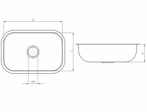 cuba n° 01 46x30x14cm aço inox 430 válvula/sifão tecnocuba