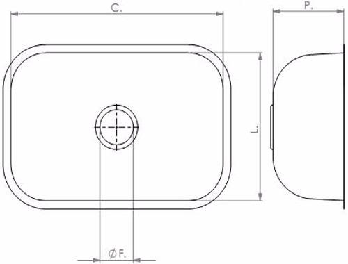 cuba n° 02 56x34x14cm aço inox 430 válvula/sifão  tecnocuba