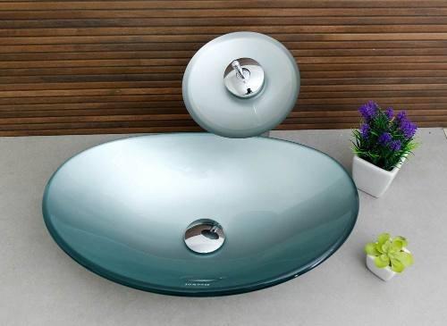 cuba oval prata + torneira cascata + válvula click