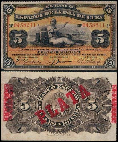 cuba p-48b mbc 5 pesos 1896 - 01  * c o l *