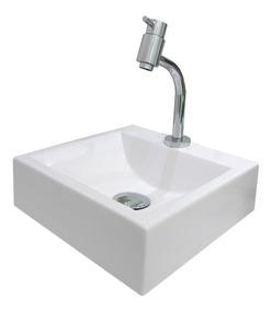 Cuba Pequena 32cm Pia Apoio Banheiro Maricá Quadrad Branco