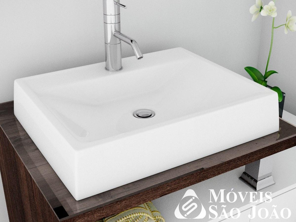 Cuba  Pia Apoio Retangular Para Banheiro Branca  Advance  R$ 139,99 em Mer -> Pia Para Banheiro Chatuba