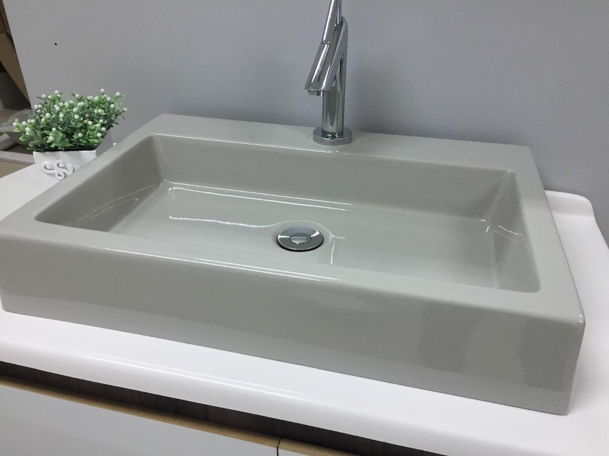 Cuba Pia De Apoio Retangular P Banheiro Grey  Athenas  R$ 179,99 em Mercad -> Pia Banheiro Roca