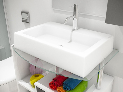 cuba pia de apoio retangular para banheiro - athenas