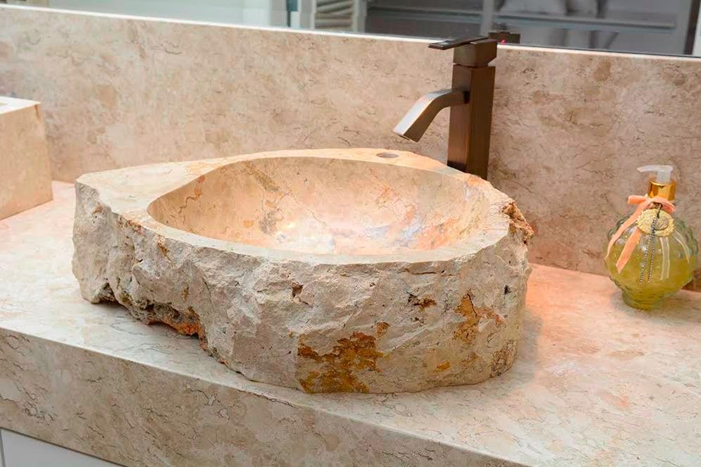 Cuba Pia Importada Luxo Banheiro Lavabo Pedra Natural Clara  R$ 1290,00 em  -> Pia Do Banheiro De Luxo