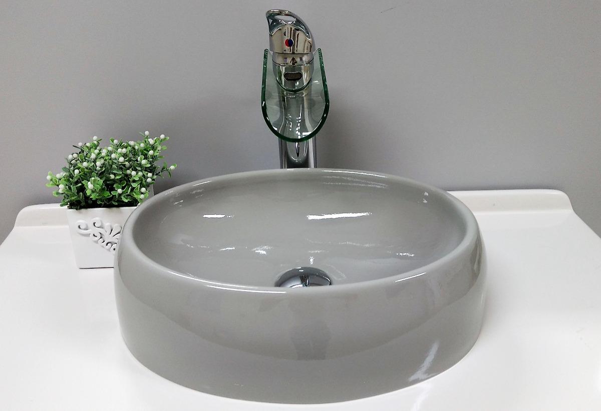 Cuba  Pia De Apoio Oval Para Banheiro Cinza Grey  Luzza  R$ 119,99 em Merc -> Cuba Pia Banheiro Cinza