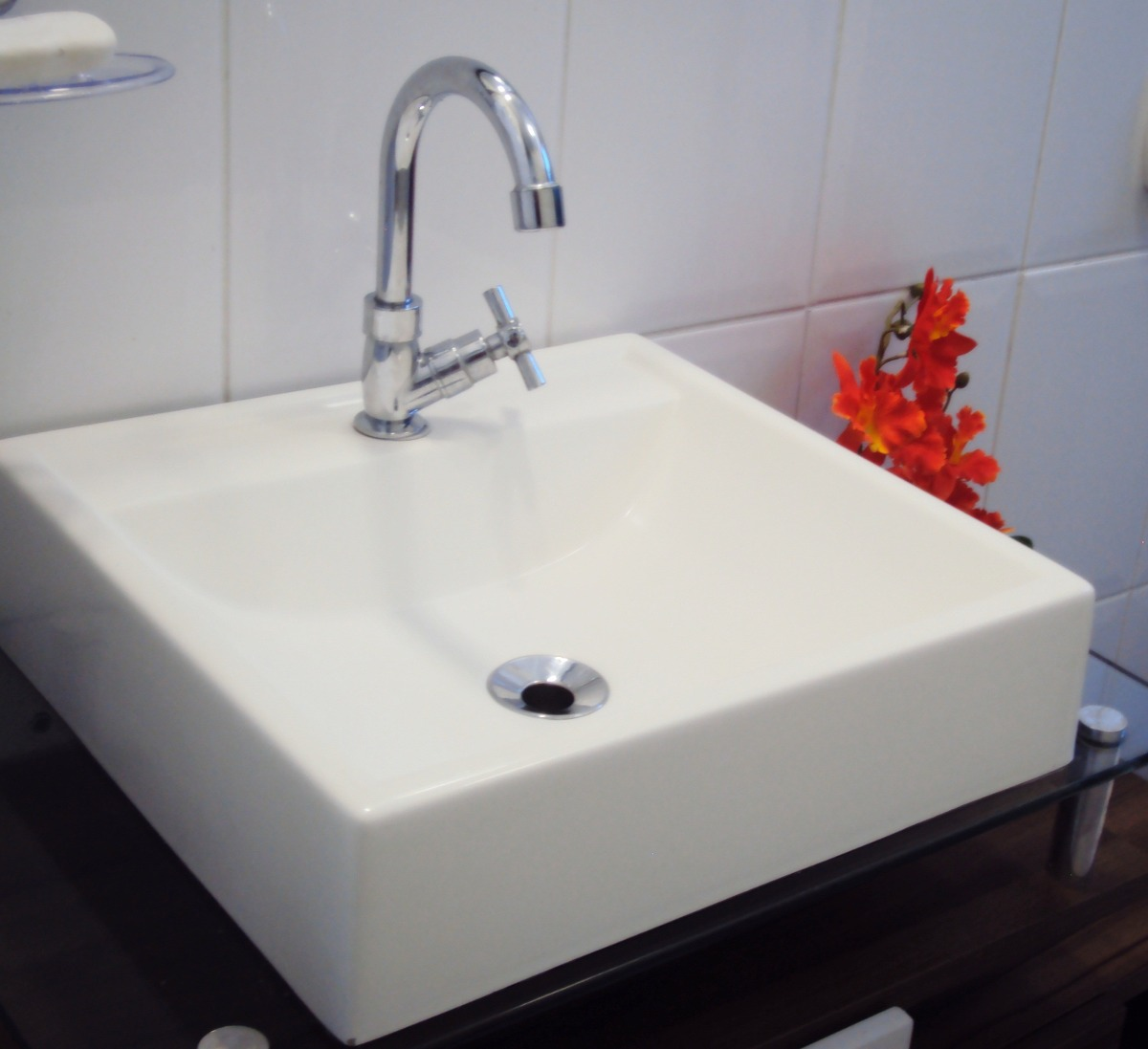 Cuba Pia Sobrepor Tendência Lavatório Para Banheiro E Lavabo  R$ 99,90 em Me -> Saia Para Pia De Banheiro