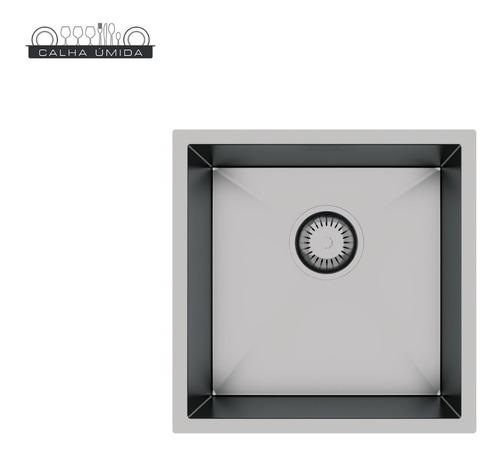 cuba quadrada 35 x 35 cm inox 304 com válvula e frete grátis
