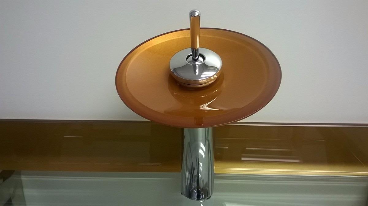 Cuba Vidro Dourada + Misturador+válvula + Kit Acessórios 5pc  R$ 599,00 em M -> Cuba Para Banheiro Dourada