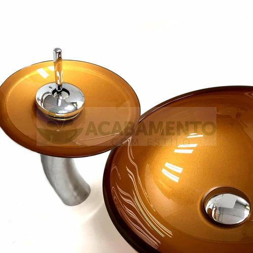 cuba vidro dourada redonda 30cm + misturador + válvula click