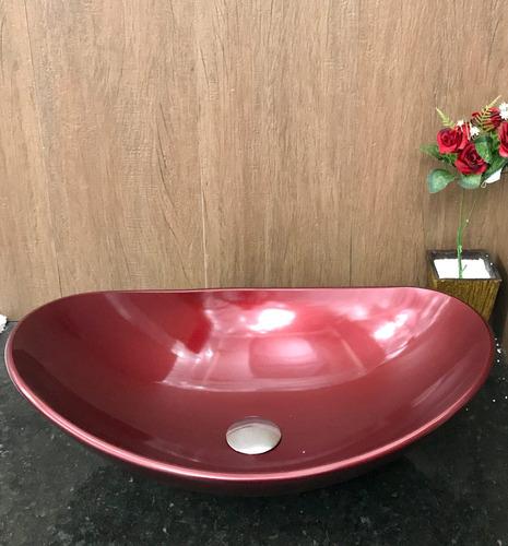 cuba vidro oval vermelho vinho sobrepor 56,5 x 37 x 14,8cm