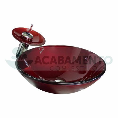 cuba vidro redonda 42cm vinho + misturador + valvula click