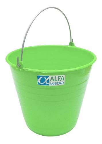 cubeta de plástico rígido para limpieza color verde 17 lts