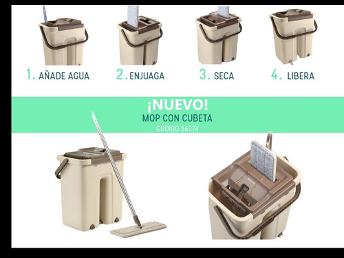 cubeta exprimidora con mop unico color cafe