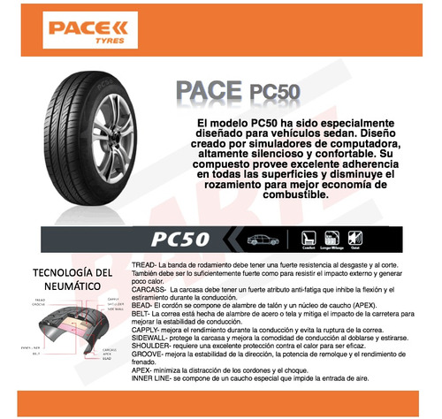 cubierta 175/70/13 pace pc50 juego x 4