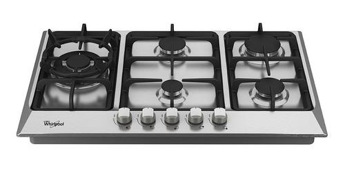 cubierta a gas 30  con válvula acero inoxidable whirlpool