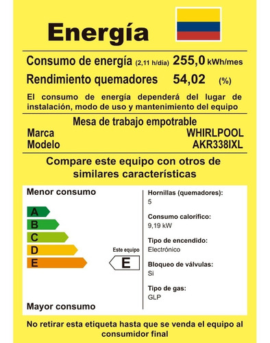 cubierta a gas 5 quemadores acero inoxidable whirlpool