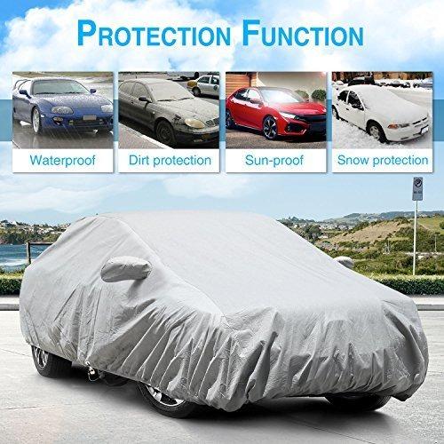 """5 Layers Waterproof Car Cover for Jeep Wrangler 4 Door 2007-2017 Windproof 189/"""""""