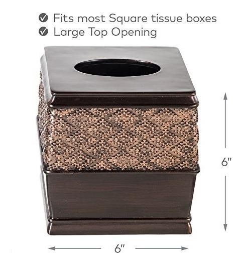 Creative Scents Dublin Square Tissue Box Cover  Decorative Bathroom Paper Holder