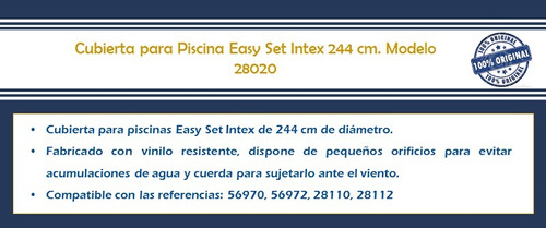 cubierta de piscina easy set inflable 244 cm 28020