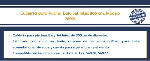 cubierta de piscina easy set intex inflable 305 cm 28021