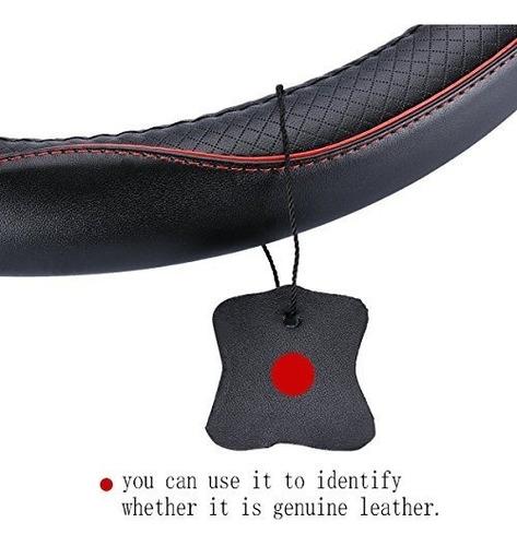 cubierta de volante universal de cuero genuino de 15 pulgada