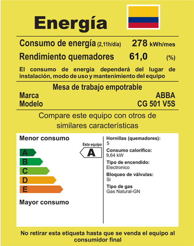 cubierta master chef abba 5p cg501v5s gas natural