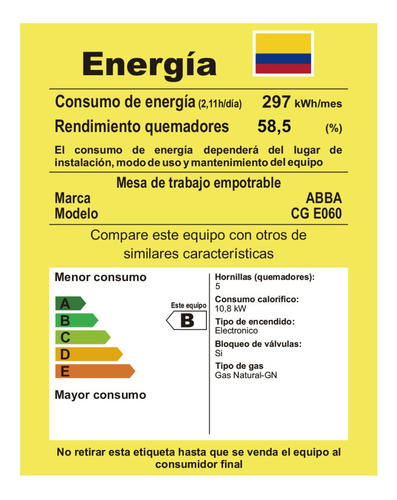cubierta master chef abba cge060 5p gas natural
