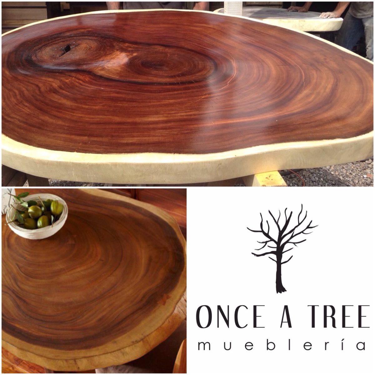 Cubierta mesa de comedor redonda rebanada de madera parota for Mesas redondas de madera